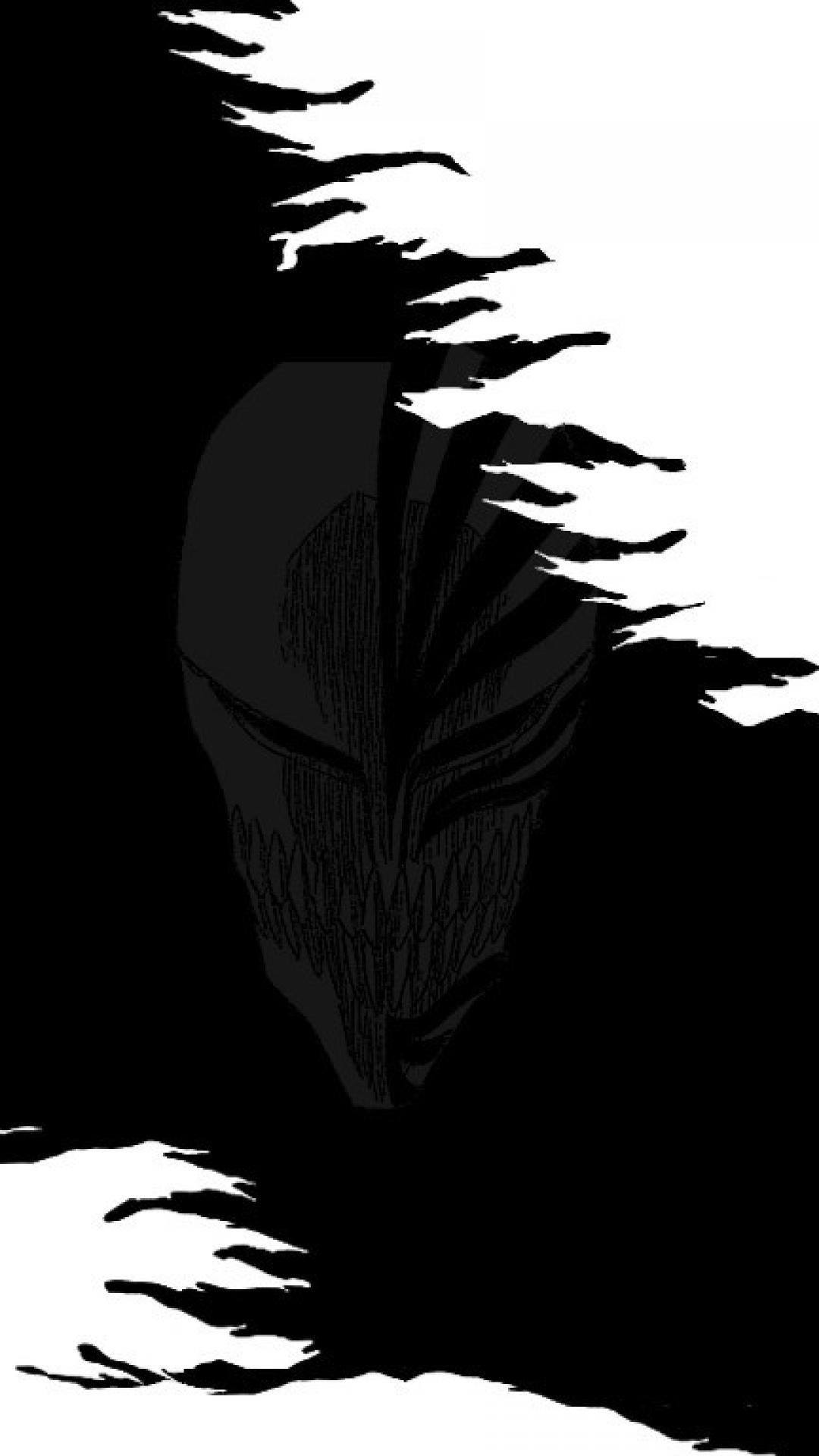 1080x1920 Bleach Kurosaki Ichigo Silhouette Grayscale Manga Hollow Mask