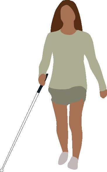 366x591 Blind Woman Walking Clip Art