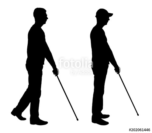 500x438 Vector Silhouette Of A Blind Disabled Man With A Cane In His Hand