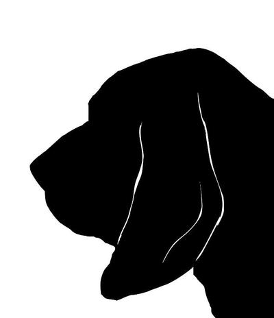 400x464 Bloodhound Silhouette Extra Large Reusable Cotton Canvas Tote Bag