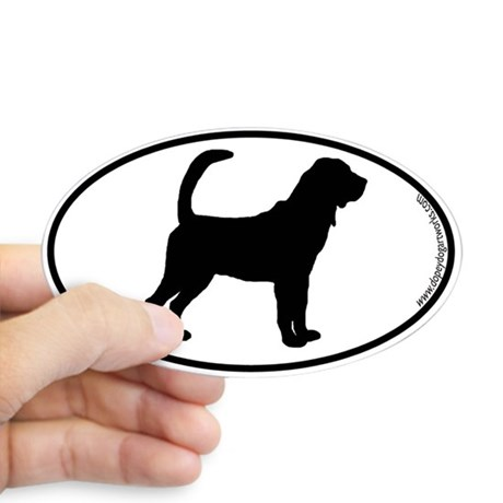 460x460 Bloodhound Silhouette Oval Stickers