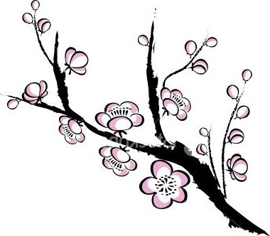 380x332 Drawn Ume Blossom Silhouette Many Interesting Cliparts