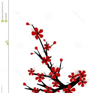 300x300 Photostock Vector Peach Or Cherry Blossom Tree Branch With Flowers
