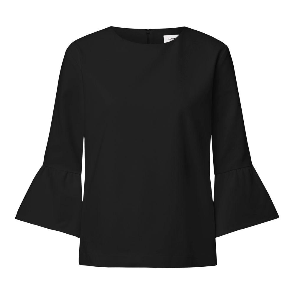 1000x1000 Polyester Frill Sleeve Top. Comfortable Fitting Silhouette