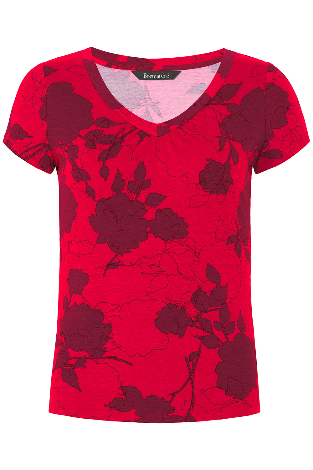 1000x1500 Silhouette Rose Print V Neck Top