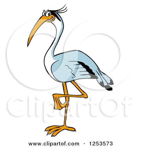 450x470 Clipart Of A Happy Blue Heron Bird