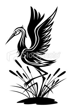245x380 Heron Bird In Silhouette Style For Environment Design Vector Art
