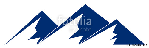 500x162 Silhouette Blue Mountain With Three Peaks On White Background