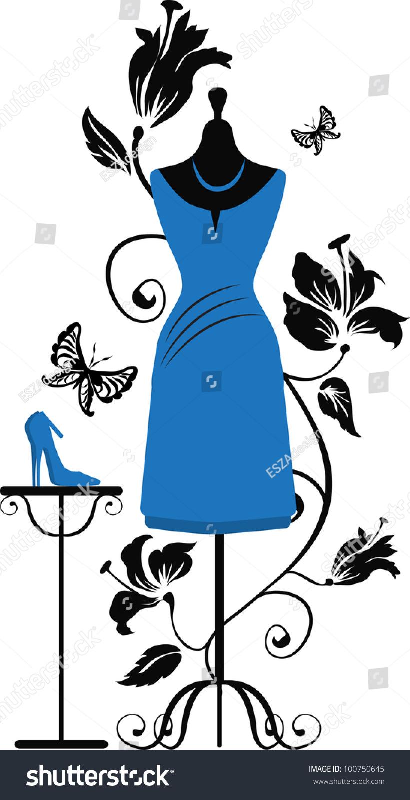 821x1600 Blue Dress Clipart