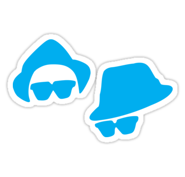 375x360 Blues Brothers Silhouette Retro Stickers By Jandsgraphics Redbubble