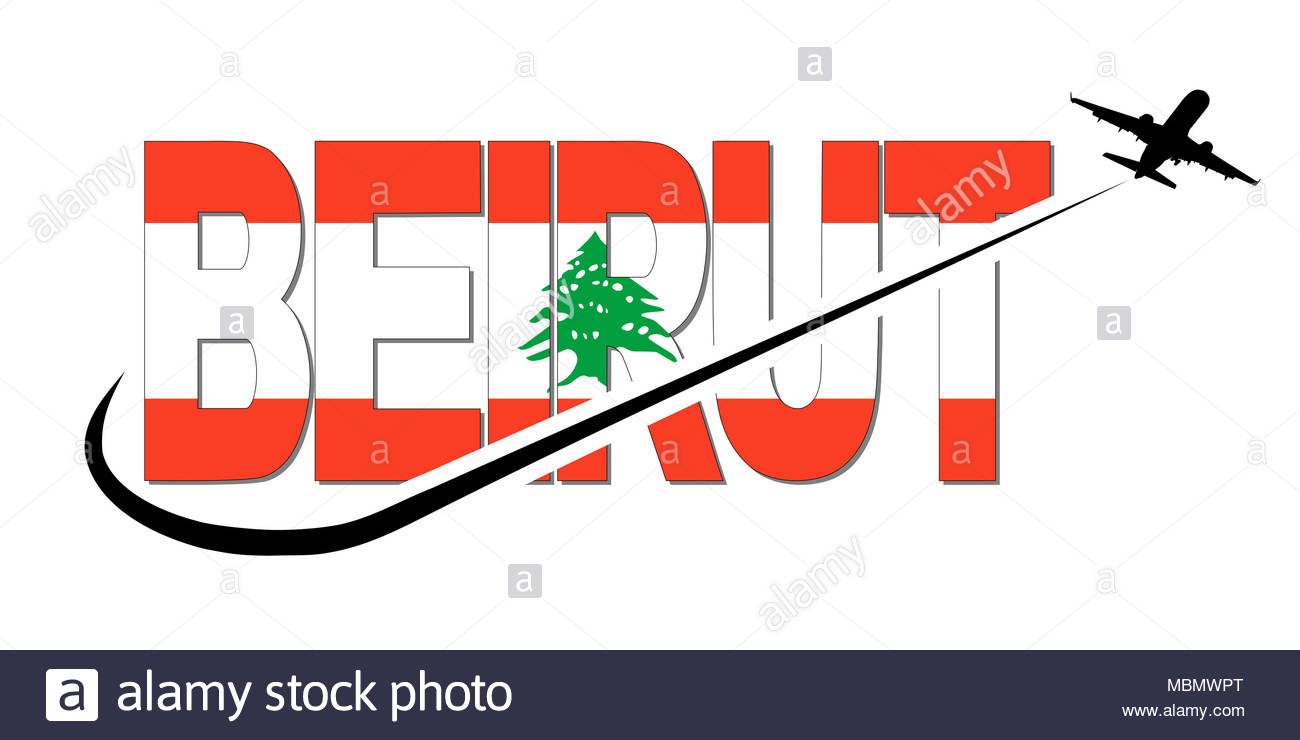 1300x740 Beirut Flag Text With Plane Silhouette And Swoosh Illustration