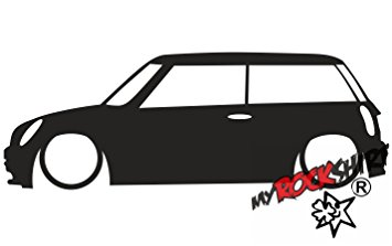 355x223 2x Stickers New Bmw Mini Cooper S Works One Outline Silhouette