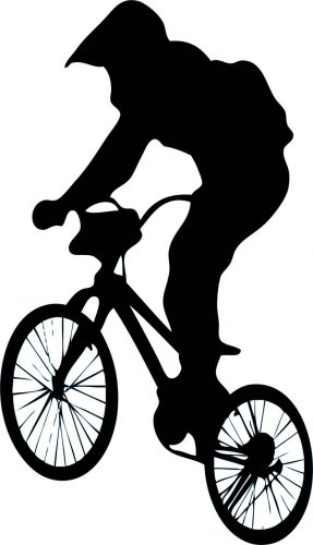 287x500 Jumping Bmx Silhouette Wall Decal By Wallmonkeys Peel And Stick