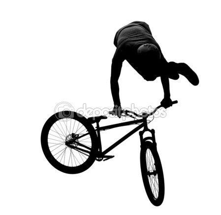 449x437 Silueta De Ciclista De Bmx. Imagen De Stock