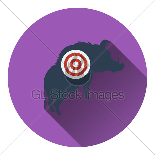 500x500 Icon Of Boar Silhouette With Target Gl Stock Images