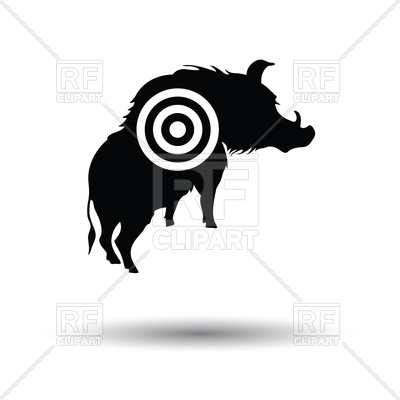 400x400 Boar Silhouette With Target Icon Royalty Free Vector Clip Art