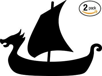 355x267 Viking Ship Silhouette (Black) Waterproof Vinyl Decal