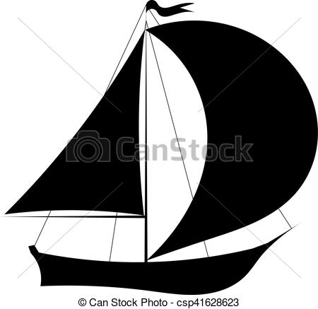 450x437 Vector Illustration Of Black Silhouette Of Sailing Yacht