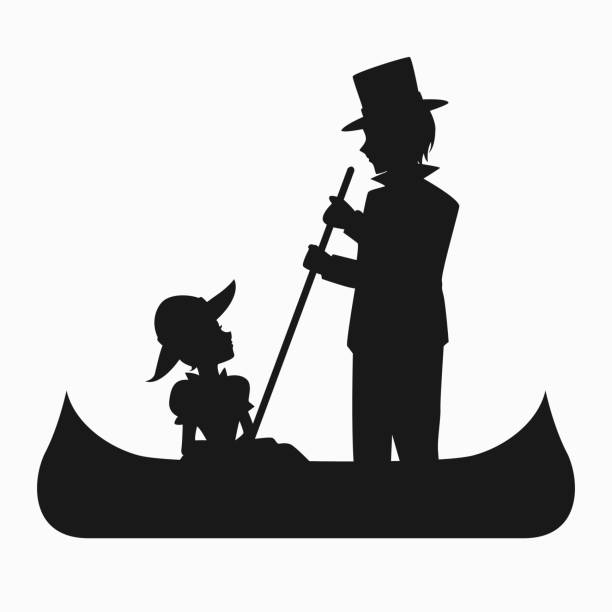 612x612 Man And Woman Riding In A Boat Clipart