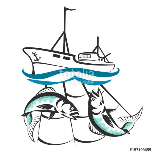 500x500 A Fishing Boat With A Catch Silhouette Stock Image And Royalty