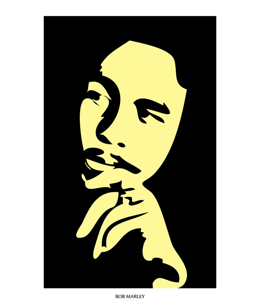 850x995 Art Emporio Black And Cream Bob Marley Silhouette Poster Buy Art