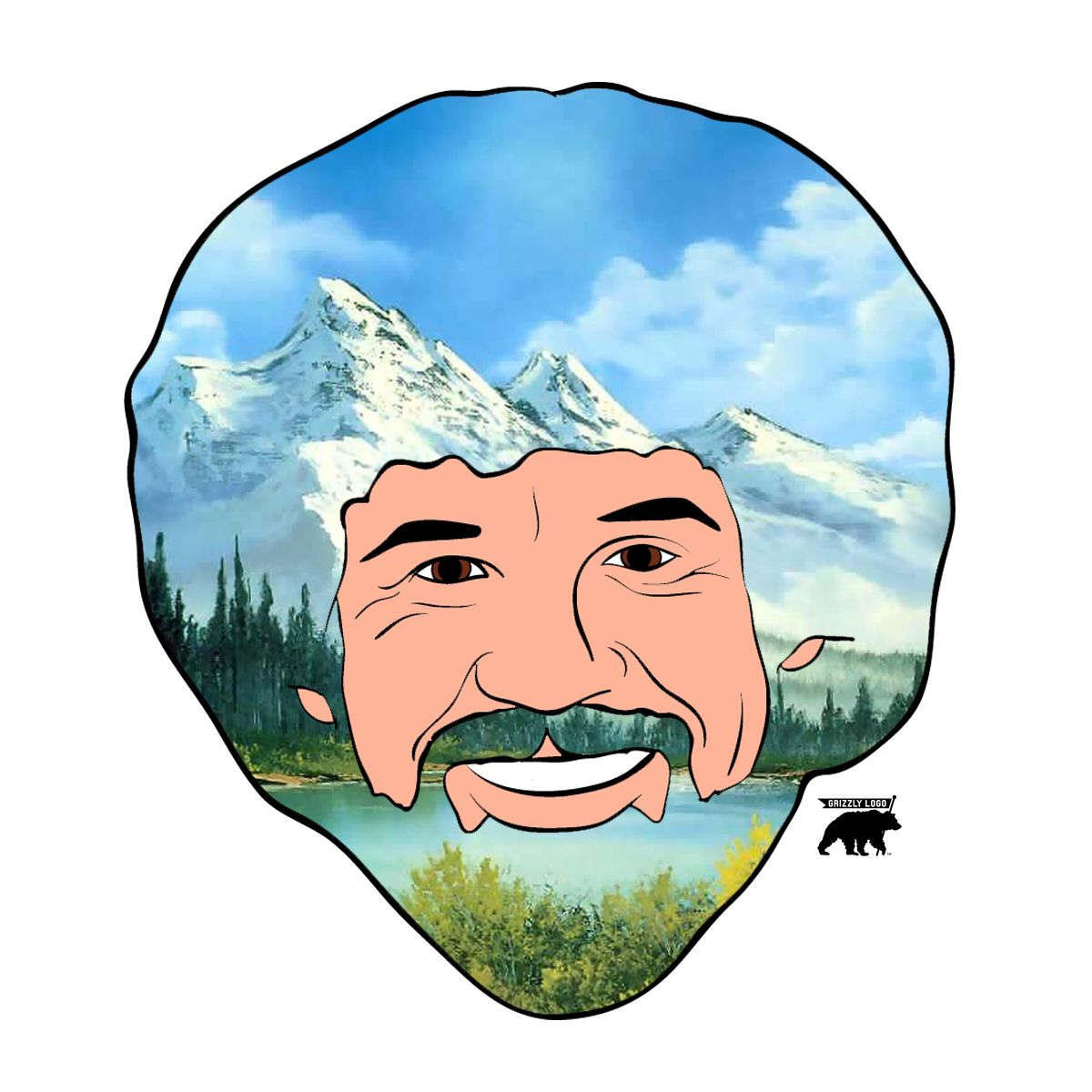 1200x1200 Mr. Happy Trees Illustration Bob Ross Amp Grizzly Logo Colab