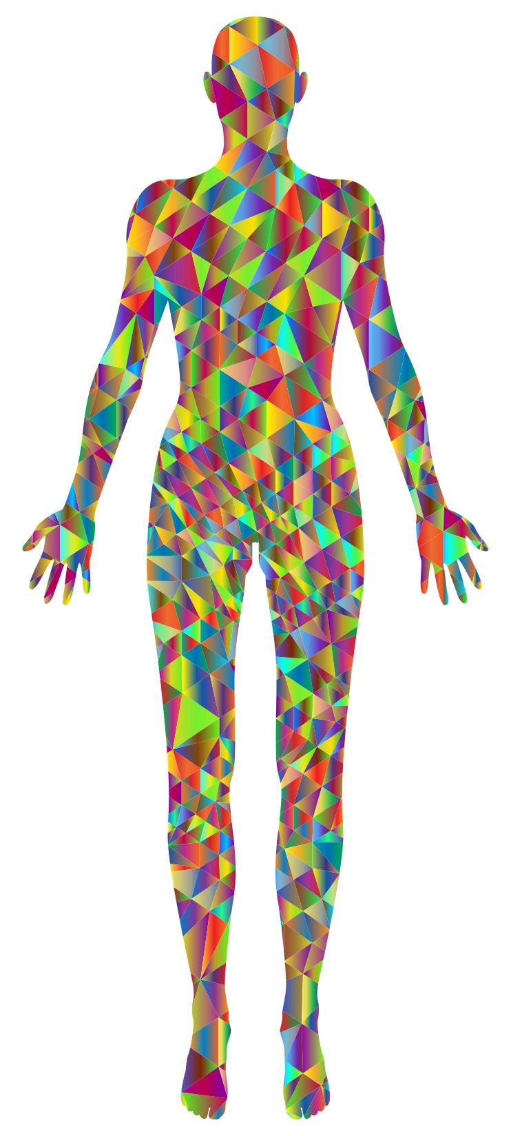 742x1648 Polychromatic Low Poly Female Body Silhouette Clipart