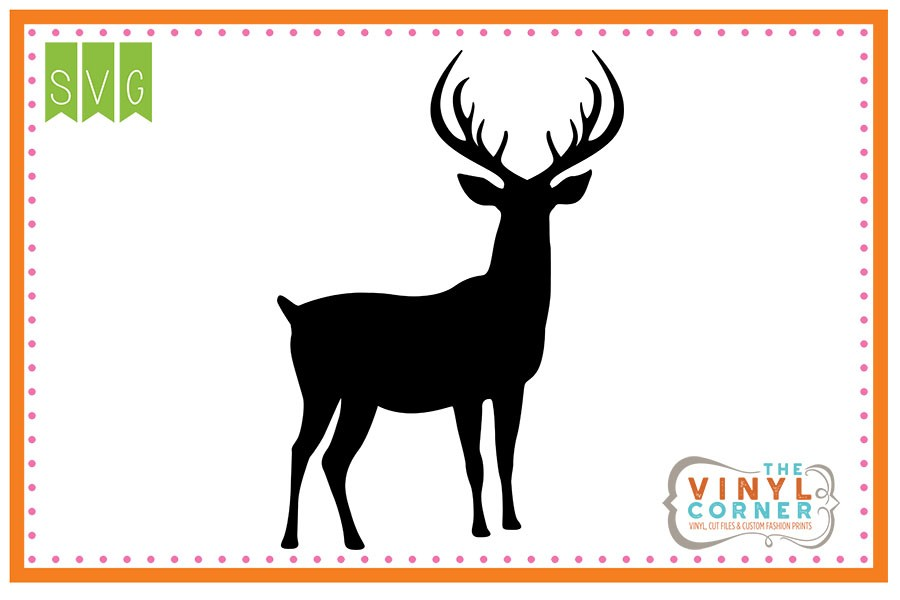 900x600 Applique Corner Deer Fully Body Silhouette Cuttable Svg Clipart Design