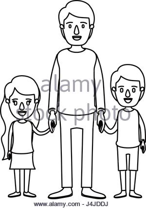 300x428 Silhouette Caricature Full Body Man Carrying A Little Girl Stock