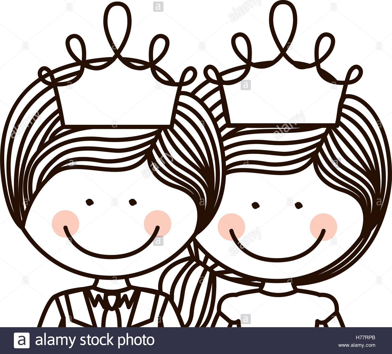1300x1175 Silhouette Half Body Girl And Boy With Crown Vector Illustration