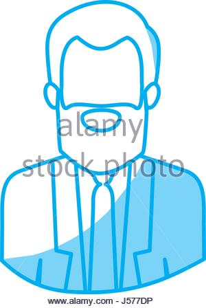 300x448 Silhouette Half Body Man With Formal Suit And Glasses Stock Vector
