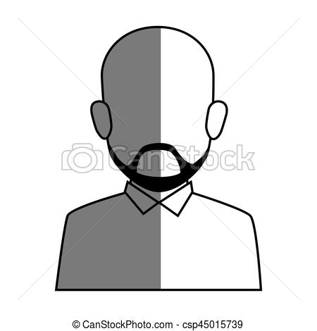 450x470 Silhouette Faceless Half Body Bald Man With Beard Vector