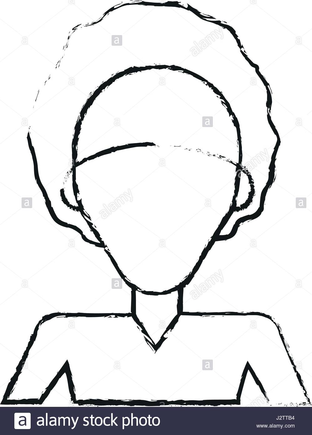 998x1390 Blurred Silhouette Caricature Faceless Half Body Woman With Afro