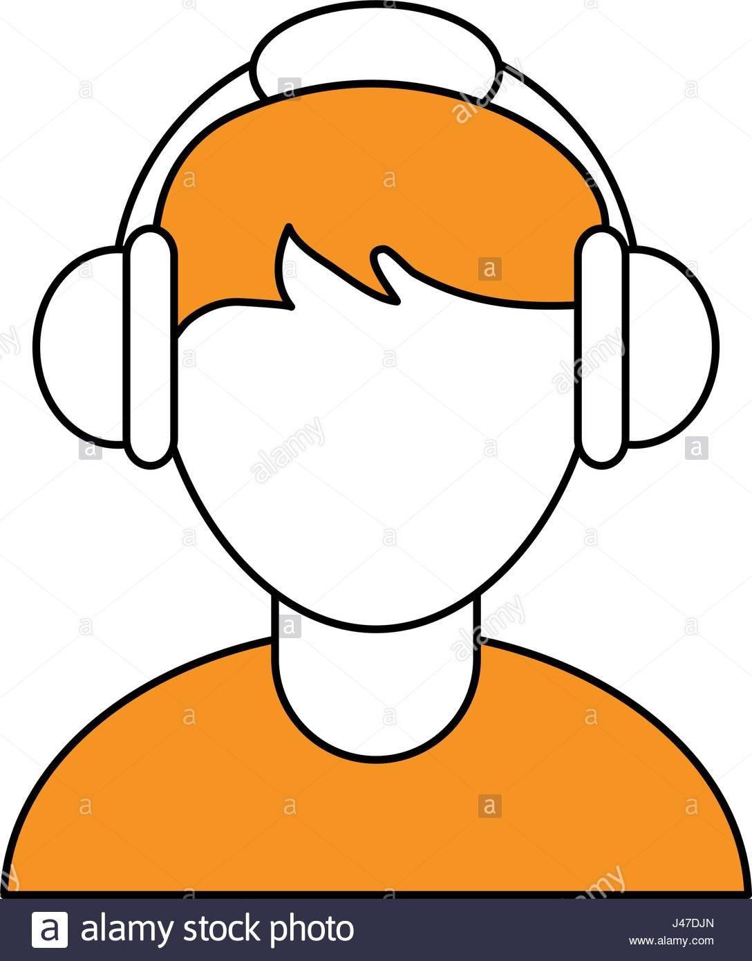 1088x1390 Color Silhouette Cartoon Faceless Half Body Guy With Headphones