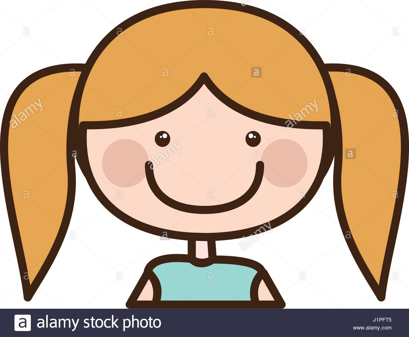 1300x1072 Color Silhouette Cartoon Half Body Girl With Pigtails Hairstyle