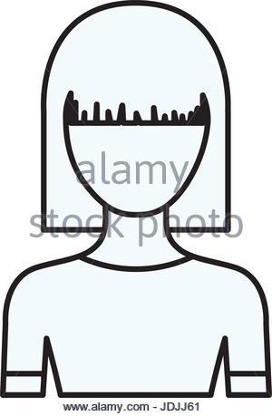 300x459 Sketch Silhouette Of Faceless Half Body Girl With Pair Pigtails