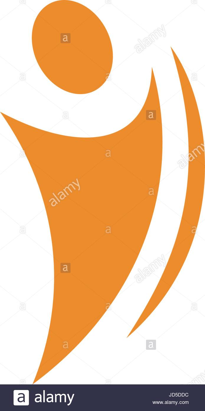 695x1390 Isolated Abstract Orange Color Human Body In Motion Silhouette