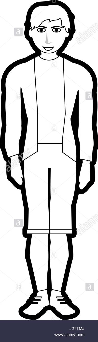 399x1390 Black Silhouette Cartoon Full Body Man With Shorts And Jacket