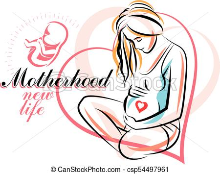 450x355 Pregnant Woman Elegant Body Silhouette, Sketchy Vector Clip Art