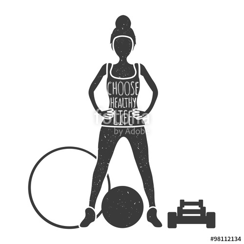 500x500 Vector Vintage Illustration. Woman Body Silhouette And Text