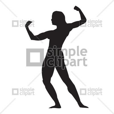 400x400 Silhouette Of Bodybuilder Vector Image