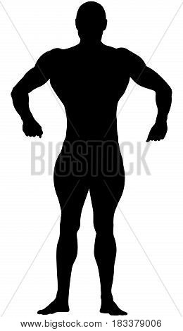 260x470 Athletic Bodybuilder In Full Growth In Relaxed Pose Black