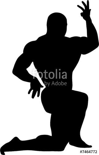 322x500 Sport Illustration. Vector Silhouette Of Bodybuilder Stock Image