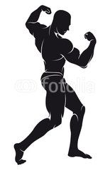 155x240 Vector Image With Bodybuilder, Silhouette Printables