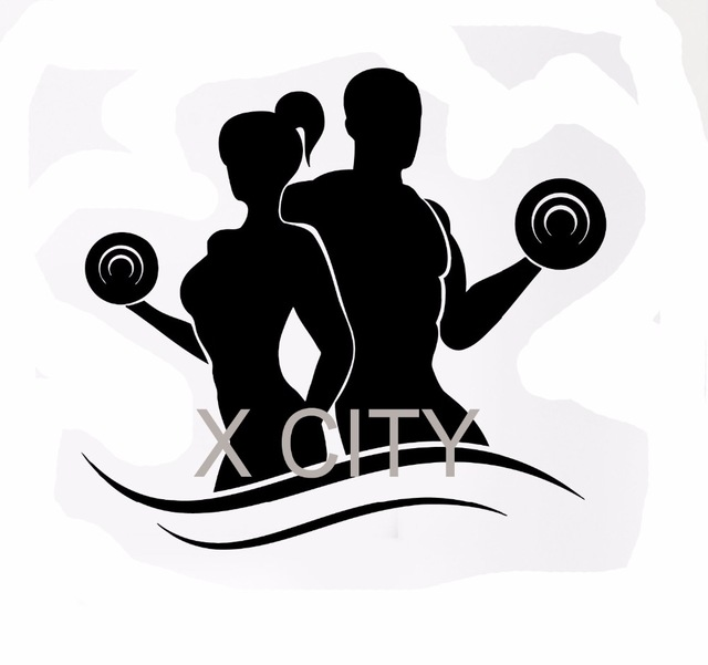 640x601 Wall Decal Sport Fitness Bodybuilding Silhouette Dumbell Barbell