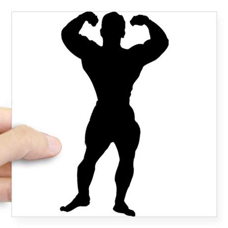 460x460 Bodybuilder Silhouette Stickers