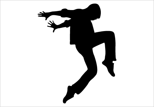 501x351 Clip Art Illustration Of A Silhouette Of A Ballet Dancer Lunging