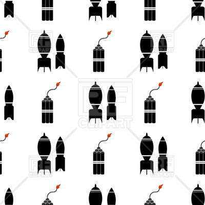 400x400 Bomb Silhouette Seamless Background Royalty Free Vector Clip Art