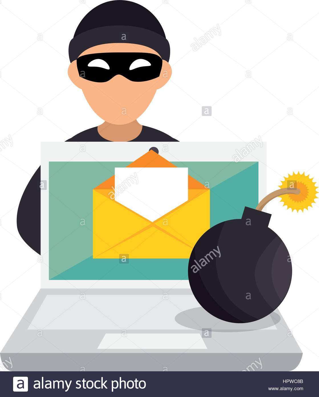 1119x1390 Color Silhouette With Hacker And Laptop And Bomb Stock Vector Art