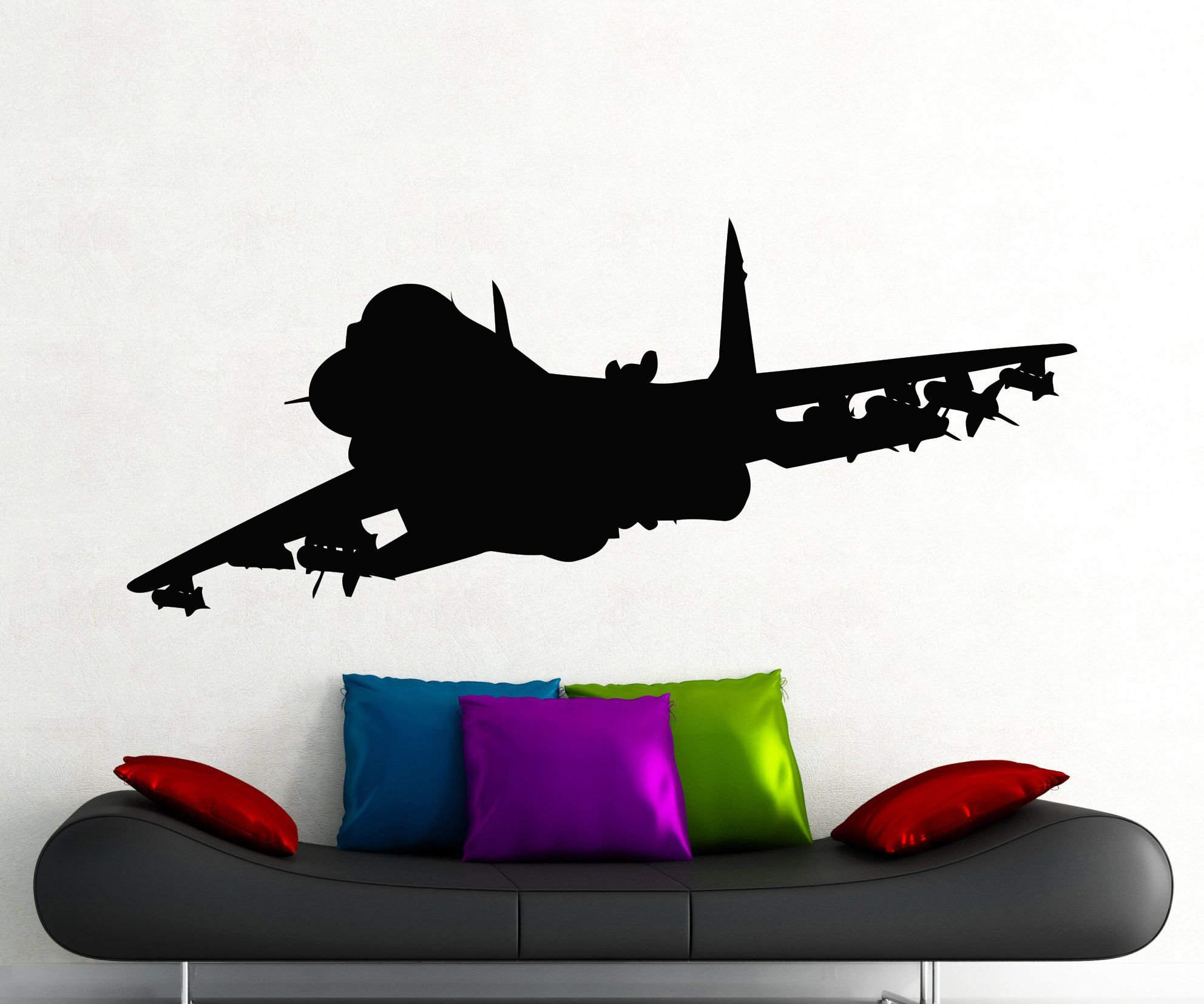1984x1656 Jet Airplane Fighter Silhouette Wall Decal Aircraft Bomber